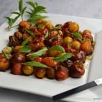 cherry tomatoes basil plate salt