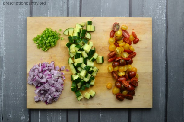chopped vegetables red onion jalapeño cucumber tomato