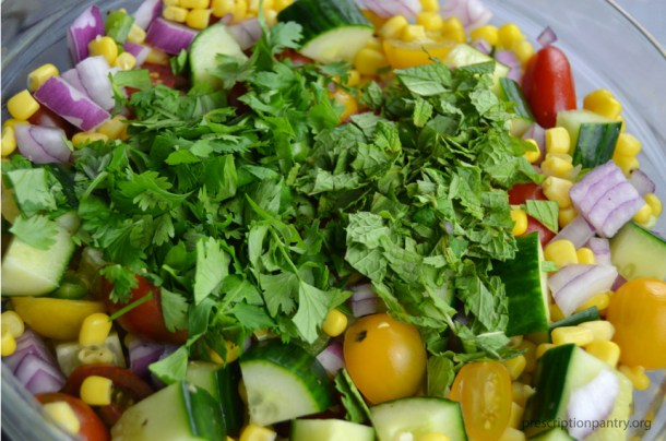 cilantro mint corn salad