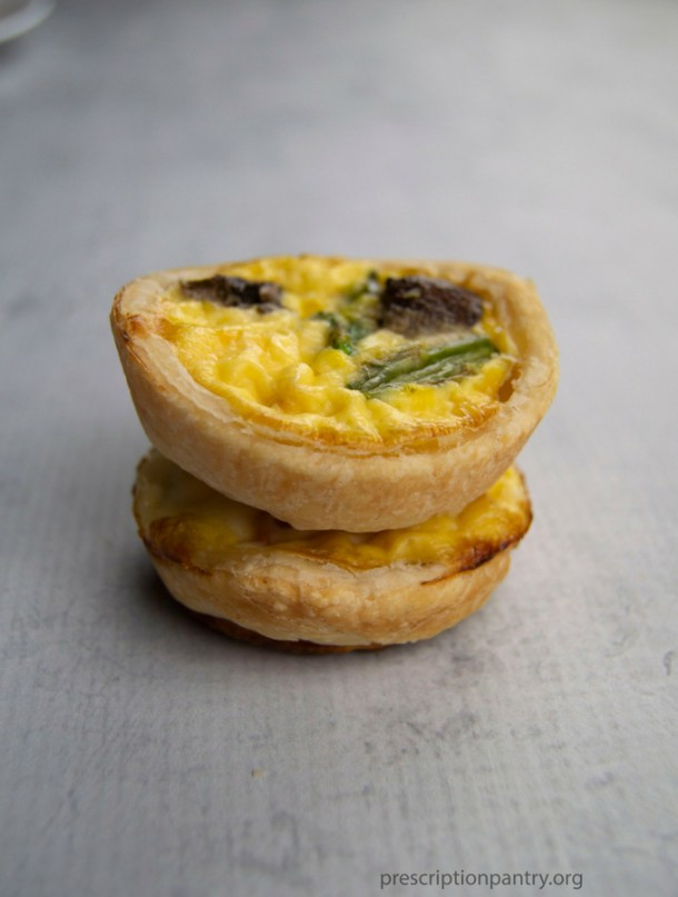 two mini quiche stacked