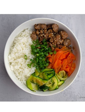 Korean beef bowl carrots zucchini green onions