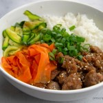 korean beef bowl rice carrots zucchini
