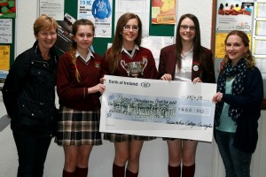 The girls presenting the cheque to  trust Talk 247 from the 2015 Pres Got Talent annual fundraiser