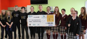 The Pres Currylea Book Club (PCBC) being presented their cheque for €300 from Youthbank Ireland in conjunction with Youth Work Ireland (Galway Branch).