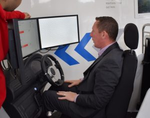 Even Mr McGrath's driving skills were put to the test at the RSA Shuttle and 'Roll Over' roadshow