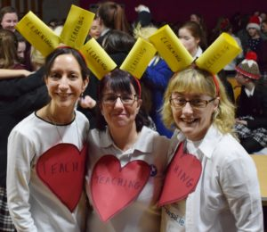 Ms Wilson, Ms Casey and Ms Heaton getting ready to perform their act 'Can't stop the teaching' for this year's 'Pres Got Talent'