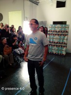 Model runway pose: beaded wayfarers by Candace Halcro, shirt by Jared Yazzie for OXDX, earrings and bracelets by TSOul.