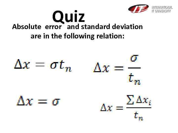 Error Analysis arithmetic mean Error Analysis absolute