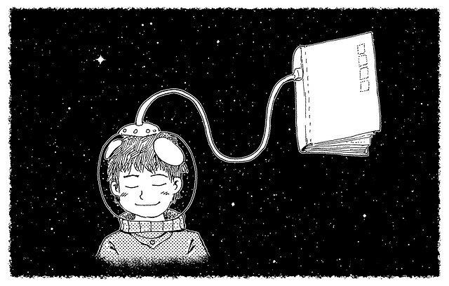 El poder de las historias: ilustración de niño en el espacio con escafandra conectada a un libro