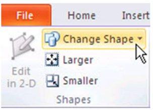 2010 PowerPoint shape change option