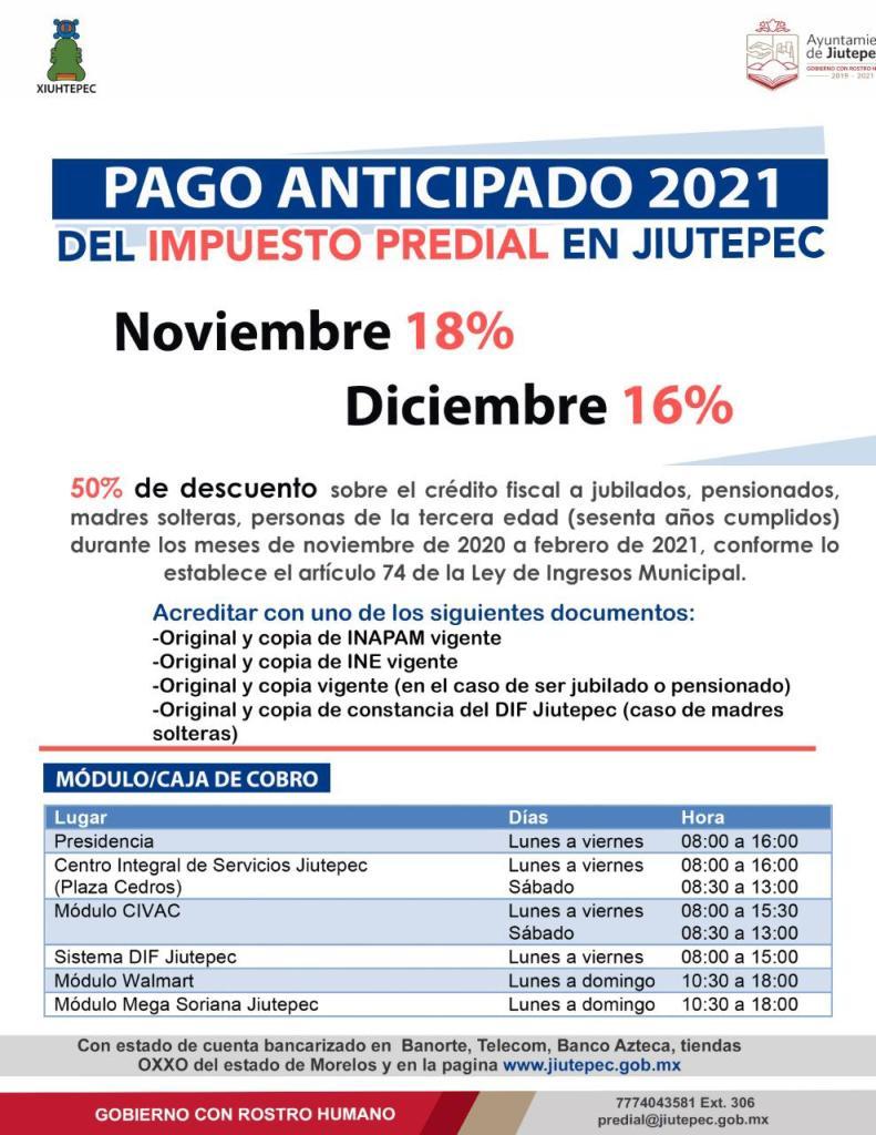 Campaña de pago anticipado de predial Jiutepec 2021