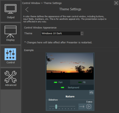 Settings: Theme selection