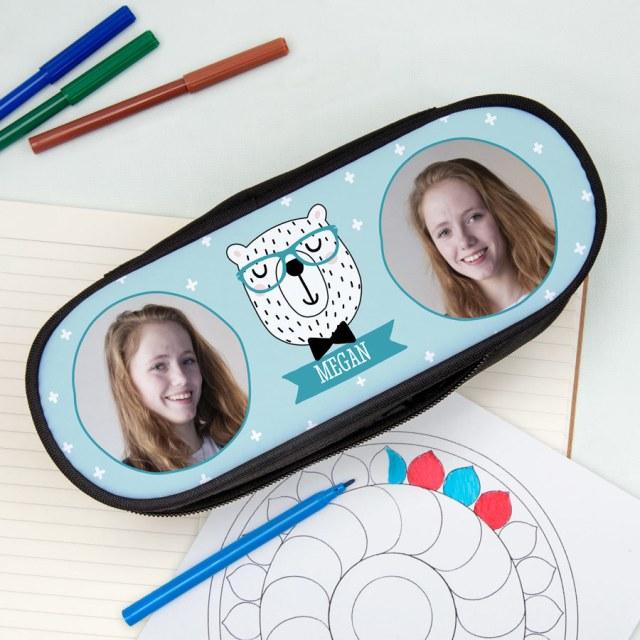 Pennfodral med ditt foto och text Image
