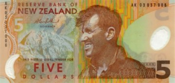 The New Zealand $5 note showing Sir Edmund Hillary, the first person to climb Mt Everest