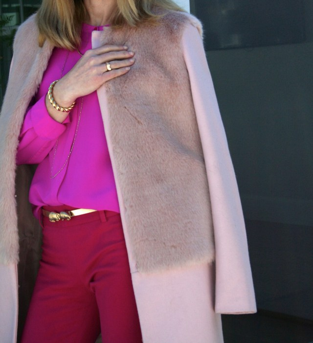 pink blouse top and coat