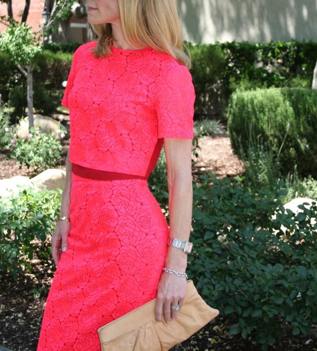pink top and skirt set