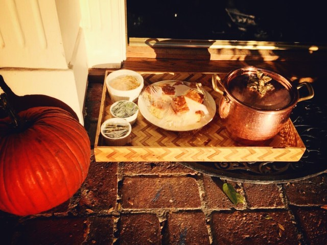 A comforting copper pot of vegetarian chili left on my doorstep by a friend