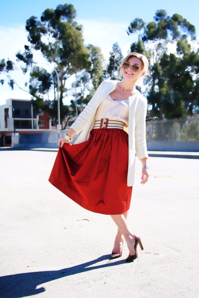 red skirt-belt-coat