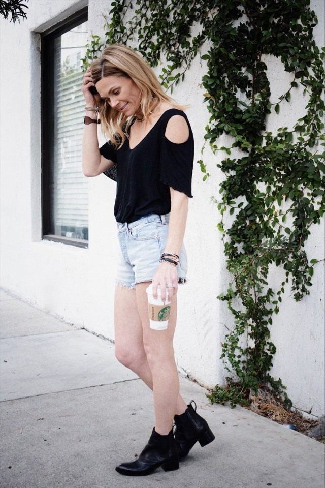 cold-shoulder top cutoffs booties