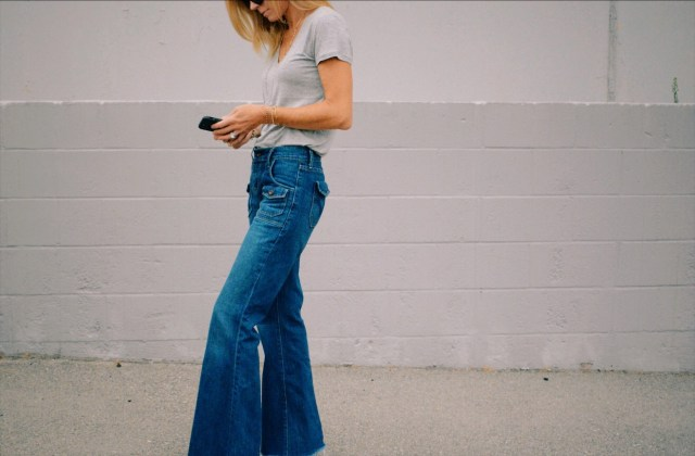 wide-leg jeans and tee