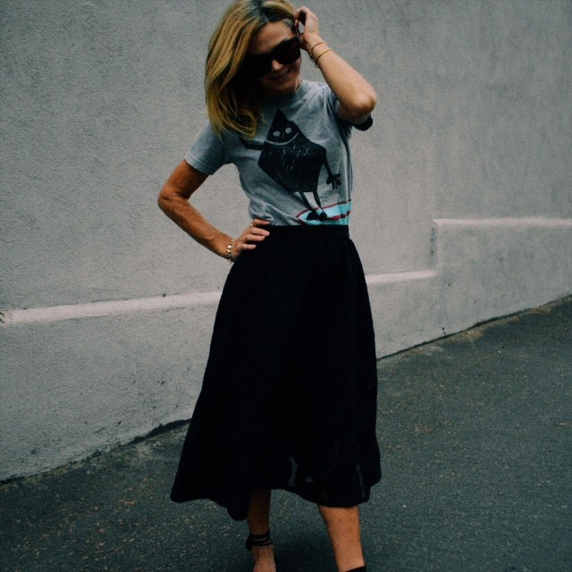 black circle skirt and tee
