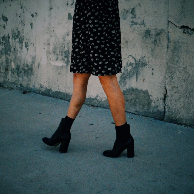 short dress and ankle boots