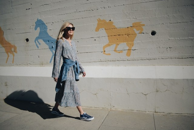 Blue Floral Dress + Denim Shirt + Vans Sneakers