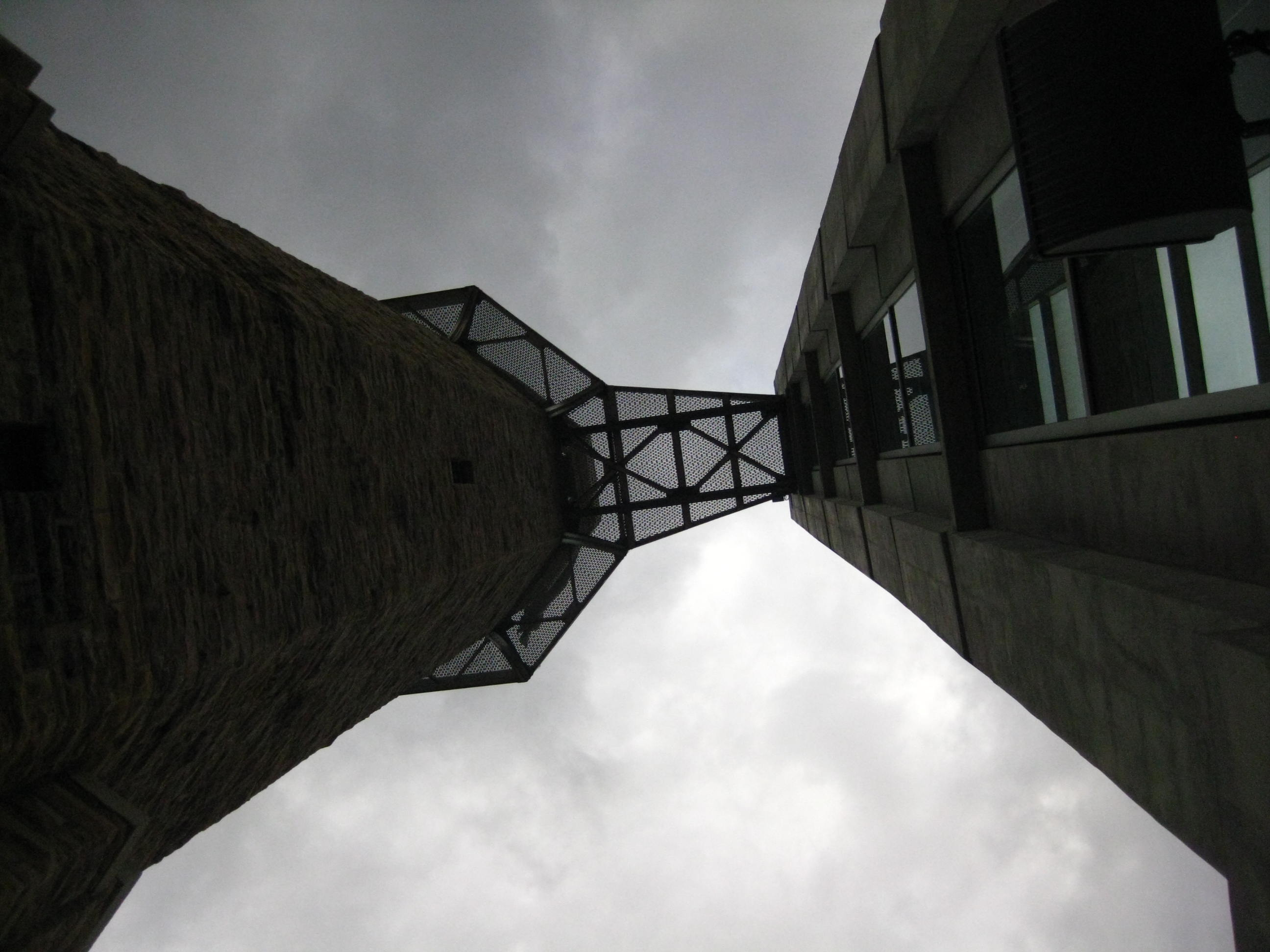 Looking up in between Vulcan's pedestal and the addition
