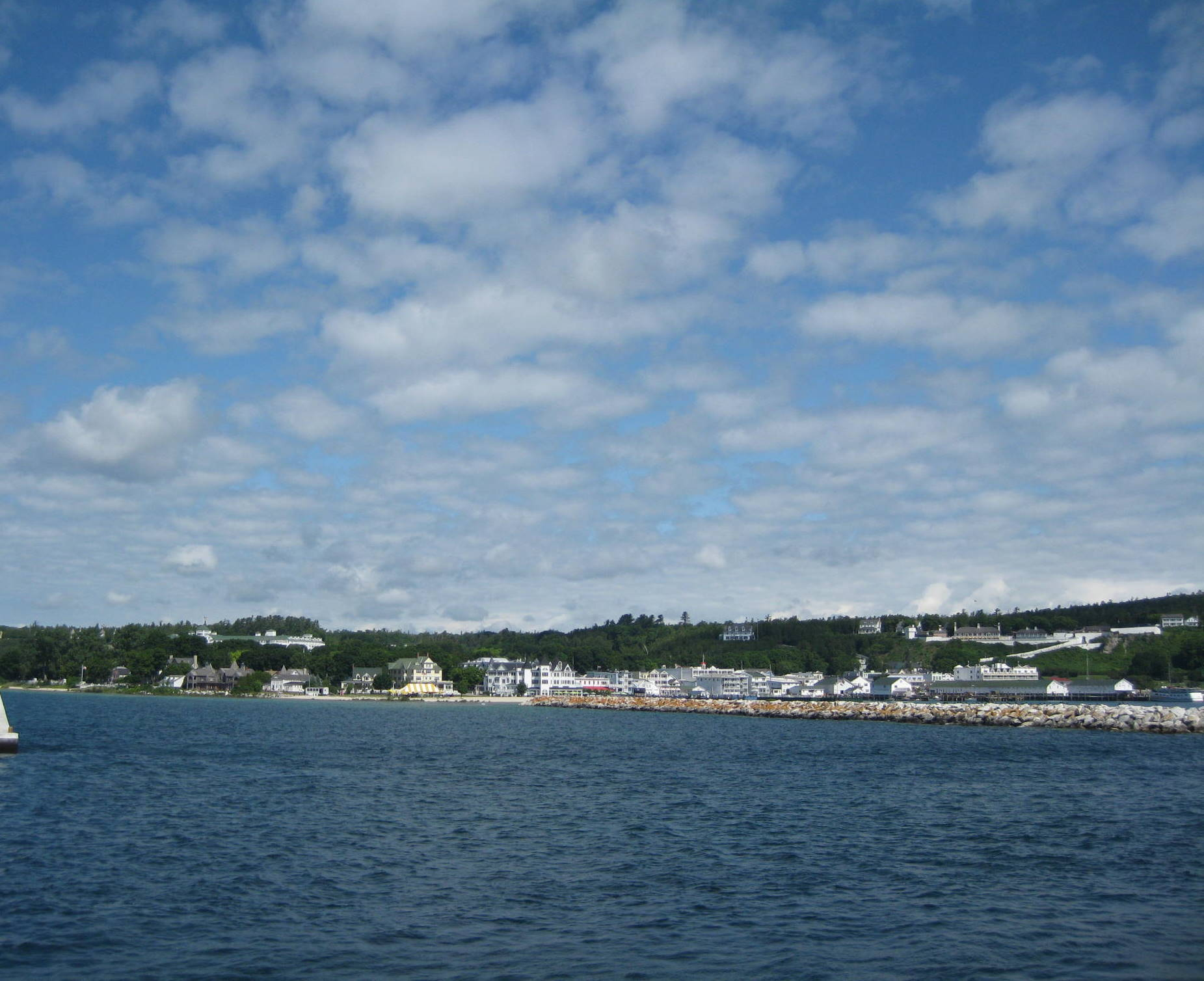 Approaching Mackinac Island by ferry from Mackinaw City.