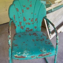 Antique Lawn Chairs Roll Arm Chair Vintage Metal Preserve Cottage