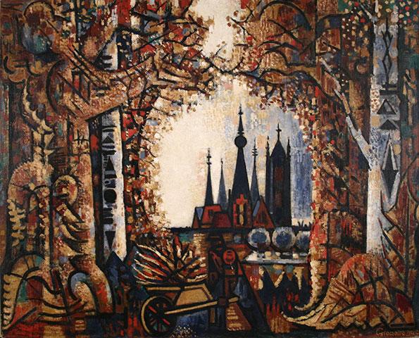 Painting by MarcelGromaire : La forêt et les tours
