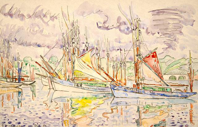 """Paul SIGNAC""""Concarneau, les thoniers""""1932 aquarelle 26,8 x 41,5 cm"""