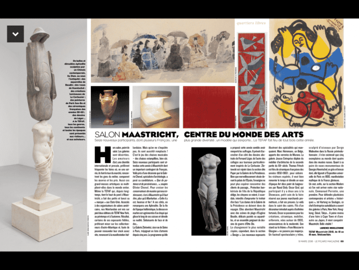 Article in Figaro Magazine on March 9th 2018, dedicated to Tefaf Maastricht