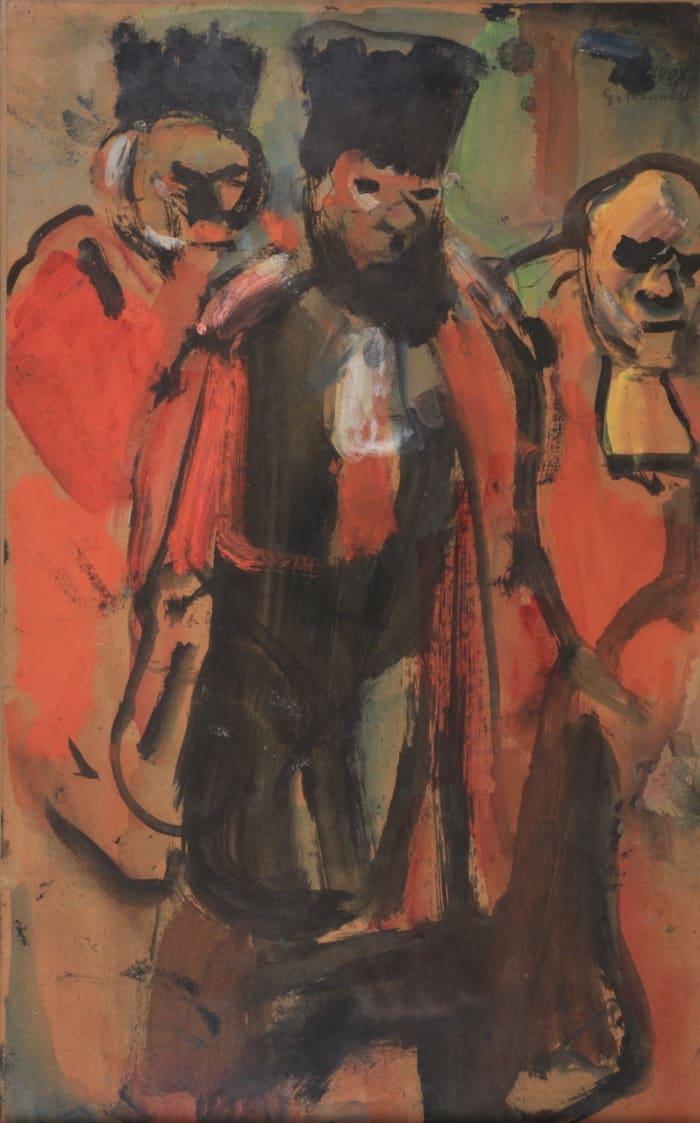 Georges Rouault , Etude pour les trois juges, 1908, Gouache, 42,7 x 27 cm