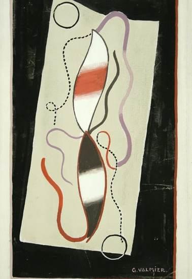"""Georges Valmier, """"Composition"""", 1933 watercolor 25,8 x 16,1 cm"""