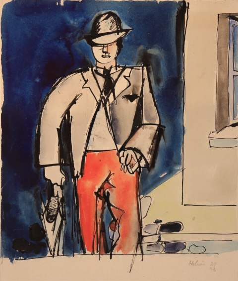 Jean HÉLION, Emile au parapluie, Circa 1939 - 1943, Aquarelle 29 x 24,5 cm