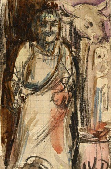 """Kees Van DONGEN,""""Femme"""",watercolor 15 x 9,3 cm"""