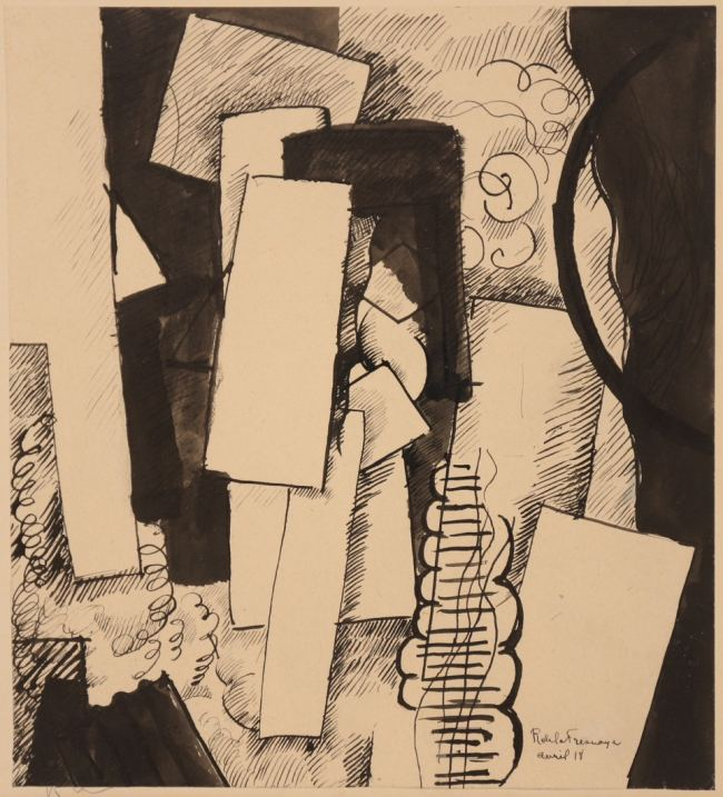 LA FRESNAYE, Composition table et cercle, 1918, dessin, 21x19