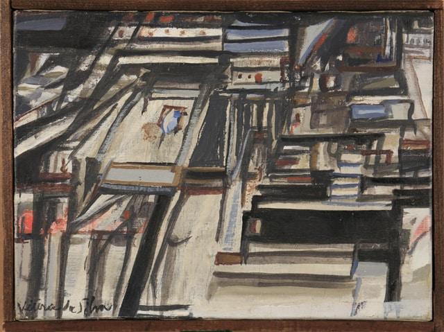 """Maria Elena VIEIRA DA SILVA, """"La maison de Philippe"""", 1968, huile sur toile, 16 x 22 cm"""