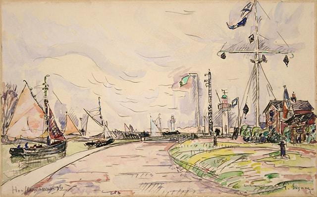 """Paul SIGNAC, """"Honfleur, la jetée"""", 1930, watercolor 28,3 x 45,3 cm"""