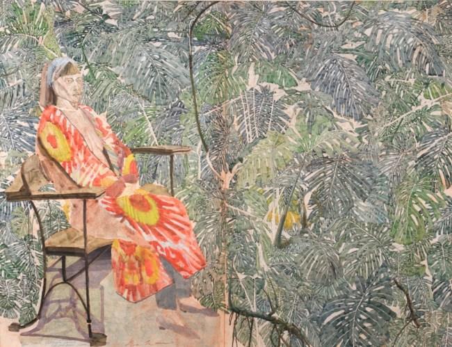 Sam Szafran, Lilette dans les feuillages, Aquarelle, 71 x 92 cm