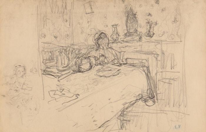 Edouard Vuillard, Dans la salle à manger, Dessin, 13,3 x 20,5 cm