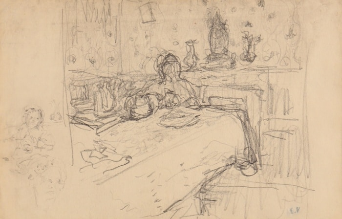 Edouard Vuillard, Dans la salle à manger, Drawing, 13,3 x 20,5 cm