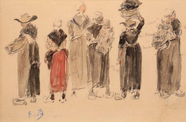 Eugène Boudin, Groupe de bretonnes, 1870-73, watercolor 13,3 x 20cm