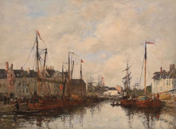 Eugène Boudin, Le Bassin du commerce, Bruxelles, 1871, oil on paper, 25,5 x 34,5cm