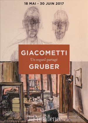 "Poster of the exhibition ""Giacometti Gruber, a shared look"", in 2017 at Galerie de la Présidence in 2017"
