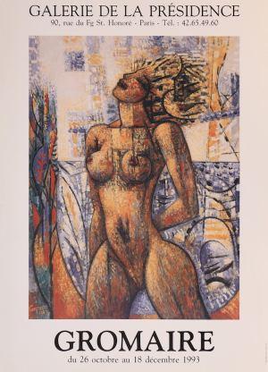 """Affiche de l'exposition """"Gromaire"""", en 1993 à la Galerie de la Présidence"""