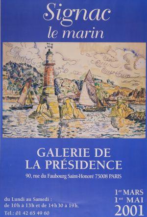 """Affiche de l'exposition """"Signac Le Marin"""", en 2001 à la Galerie de la Présidence"""