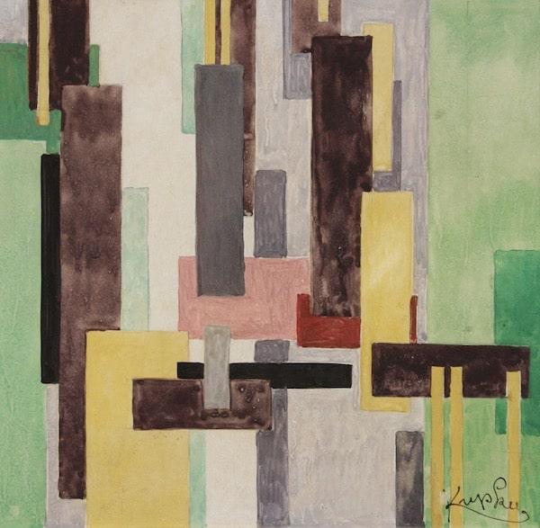 Frantisek Kupka Composition abstraite Circa 1930 Aquarelle et gouache 25 x 24,5 cm - VENDU