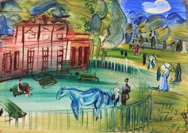 Raoul Dufy Le Paddock à Chantilly Circa 1939 Huile sur panneau,16,1 x 22,1cm